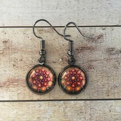 12mm glass Orange Illusion cabochon earrings