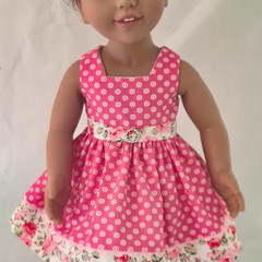 Pink Spot and Floral Sundress with Belt