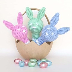 Bunny rabbit rattle toy, babies forst Easter gift.