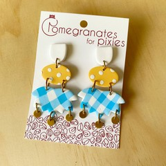 Ayla Statement Earrings in Sunshine and Cotton with Brass Disks