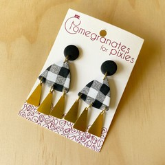 Nisa Statement Earrings in Gingham with Brass Triangle Drops