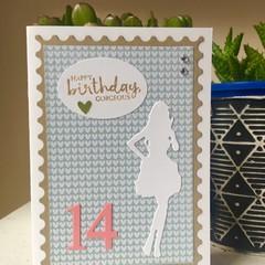girl Birthday Card - age personalised