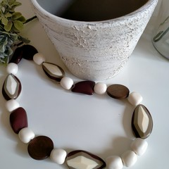 White and Brown Resin Necklace
