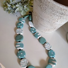 Pale blue and White Kazuri bead necklace