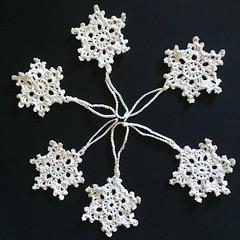 Six Large White Snowflakes Xmas Tree Decorations
