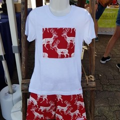 Red Woodland Deer Christmas Tee Shirt - White