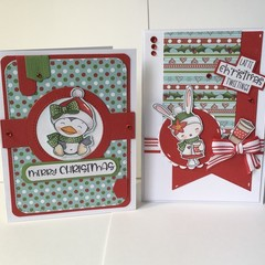 Christmas Animals  Pair of Cards