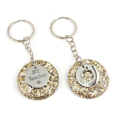 Teacher Glitter keychain charms - gold