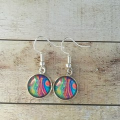 12mm glass Poured Paint cabochon earrings