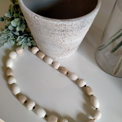 White on White Beaded Necklace