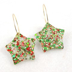 Christmas Collection - Christmas star earrings  - red, green & gold