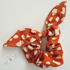 Rust with Cream Spots Scrunchy with Bow