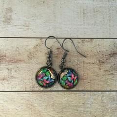 12mm glass Butterfly Garden cabochon earrings