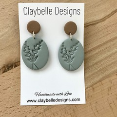 Sage Lavender Stamped  Dangle