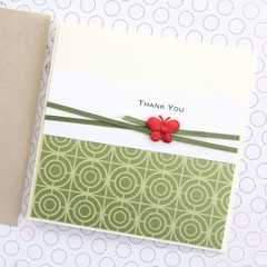 Handmade Thank You Card, Gratitude, Teacher Thank You, Green Oriental Design
