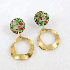 Christmas Collection - Christmas dangle earrings - red, green & gold