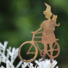 Garden Decoration, Witch on a Bicycle with her Companion Kitten
