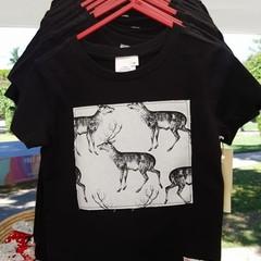 Woodland Deer Christmas Tee Shirt - Black