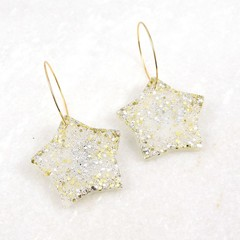 Christmas Collection - Christmas star earrings -  silver & gold