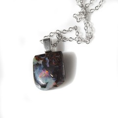Unisex Boulder opal pendant Sterling silver wire wrapped