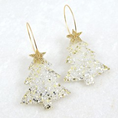 Christmas Collection - Christmas tree earrings - silver & gold