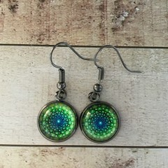 12mm glass Green Illusion cabochon earrings