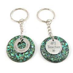 Teacher Glitter keychain charms - green