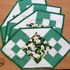 Patchwork Place Mats - set of 4  - Quilted - Iris  - Tulip