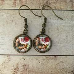 12mm glass cabochon butterfly earrings