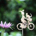 Garden Decoration, Witch on a Bicycle with her Companion Cat and Bird