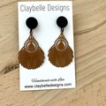 Brown Feathered Filigree Statement Earrings