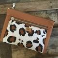 Dbl. Zip Pouch - Leopard Print/Tan Faux Leather