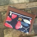 Dbl. Zip Pouch - Red Gum Blossom/Brown Faux Leather