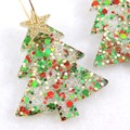 Christmas Collection - Christmas tree earrings - red, green & gold