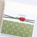 Handmade Thank You Card, Gratitude, Teacher Thank You, Green Oriental Design