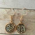 12mm glass Leopard Print cabochon earrings