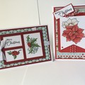 Christmas Poinsettia  Pair of Cards