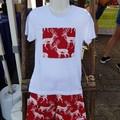 Red Woodland Deer Christmas Tee Shirt - White