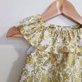 Gold Damask Ruffle Neck Girls Christmas Dress Size 0