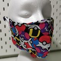 Pokemon pokeballs face mask. XXL size suitable for adult male or adult female.