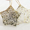 Christmas star earrings - traditional colours - silver & gold