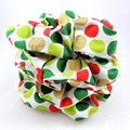 Christmas Scrunchies - gold, red and green dots