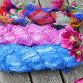 ~*~  Recycled Silk Ribbon from India 3x approx 100g  Skein Blue/Pink/Multi ~*~