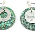 Teacher Glitter keychain charms - green