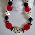 Black, White and Red Beaded Necklace