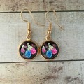 12mm glass Rose Garden cabochon earrings