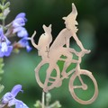 Garden Decoration, Witch on a Bicycle with her Companion Cat
