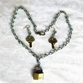 Lock and Kyes Necklace Earrings Set