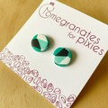 Mini Stud Earrings in Jade Carnival