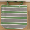 Green/white/grey striped Tote Bag
